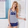 Гостиная установлено летнее полоса сексуальный сексуальный сладкий рукавов пижамы чистого хлопка жилет шорты 2016 Бесплатная Доставка