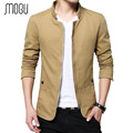 MOGU 2017 New Arrival Slim Fit Men Jacket Zip Closure Off White Jacket Men Stand Collar Casual Man Jacket Large Size Size M-5XL