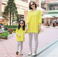 Family Matching Outfits2016 new style spring&autumn mother& daughter yellow round collar cotton T-shirt  sets with short sleeves
