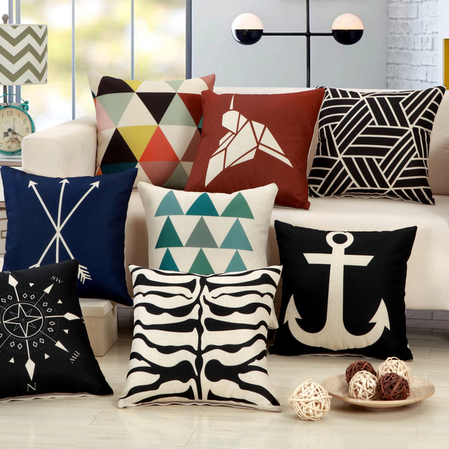 Fashion Geometry Print Cushion Covers Modern Black White Square Decorative Living Room Chair Waist Pillow Cover