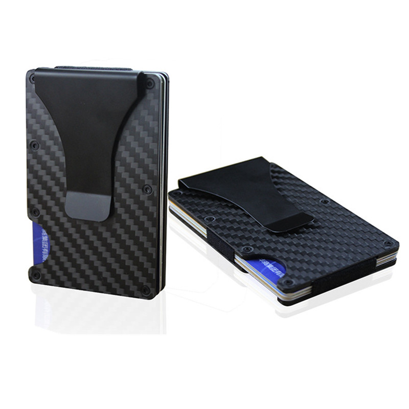 Carbon Fiber RFID Wallet Metal Mini Slim Wallet Men's Business Credit Card ID Holder With RFID Anti-chief Card Protector Wallet