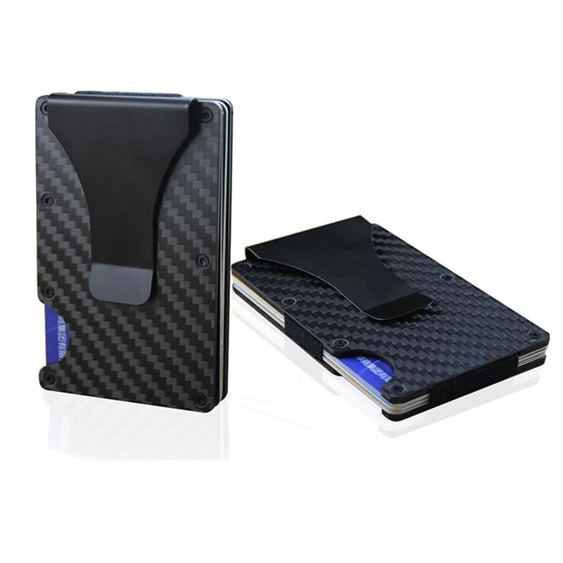 Fibra de carbono cartera RFID Metal Mini Slim cartera de negocios tarjeta de crédito titular de la identificación con RFID Jefe protector de la tarjeta cartera