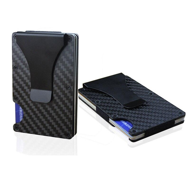 Kohlefaser RFID Wallet Metall Mini Schlanke Brieftasche herren Business Kreditkarte ID Halter Mit RFID Anti-chef karte Schutz