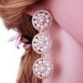 Mujeres imitación de la perla pendientes 2016 pendientes cristalinos de la manera joyería del banquete de Boda del día de san valentín regalo envío gratis