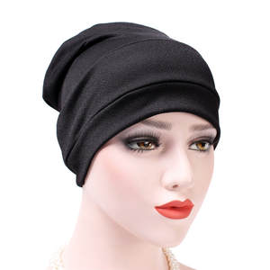 Stylish Bar Women India Hat Muslim Ruffle Cancer Chemo Hat Beanie Scarf Turban Head Wrap Cap Cotton Blend Comfortable Daily Wear