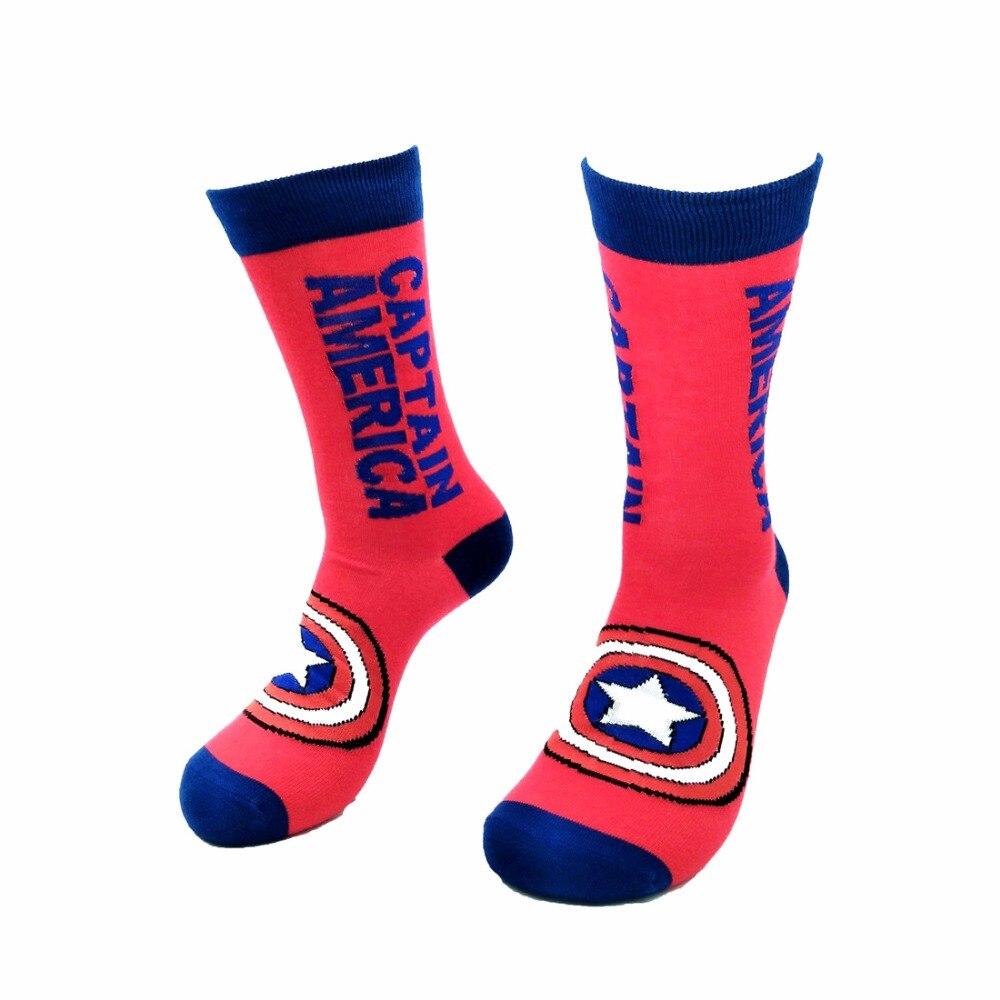 Fashion Hot Men Socks USA Captain Superhero Batman Elite Basket Socks Men Elastic Skate Knee Sock Cotton