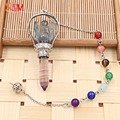 xinshangmie Fashion Silver Plated Natural Stone Fluorite Angel Pendant Pendulum With 7 Chakra Chain For Women Charm Jewellery