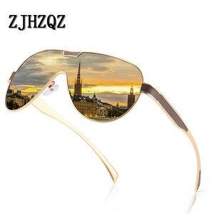 Image 4 - ZJHZQZ Oversized Pilot Polarized Sunglasses Siamese Film Avaiation Brown Black Silver Men Eyeglasses Women Glasses UV400 Eyewear