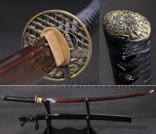 Červeně skládaný ocelový meč Katana Full Tang Unokubi Zukuri Blade Leather ITO B567
