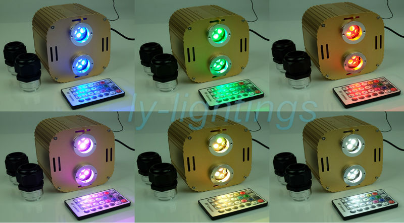 Fiber optic light source 32w RGBW led light engine RF remote for optical fiber twinkle star ceiling light decoration 2xoutput optic fiber light kit 32w twinkle starry sky ceiling light 32w rgb ir for decoration project floor light underwater lighting