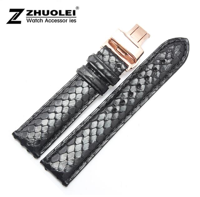 Faixa de relógio 18 mm 19 mm 20 mm 21 mm 22 mm New Black da pele Python couro genuíno assista pulseiras correia