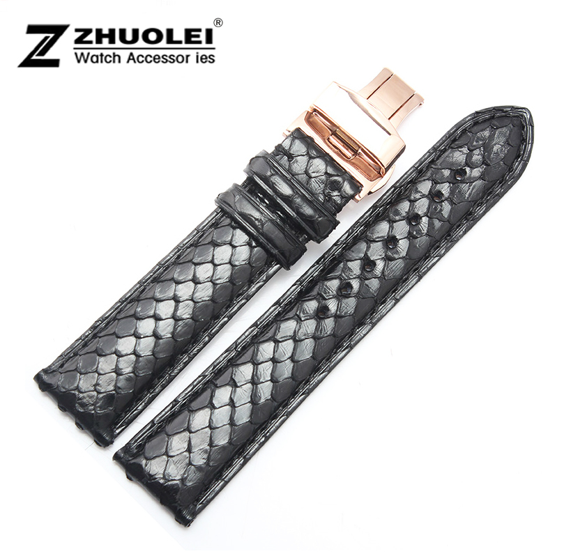 Watch band 18mm 19mm 20mm 21mm 22mm New Black Python Skin Genuine Leather Watch Strap Bracelets new mens genuine leather watch strap bands bracelets black alligator leather 18mm 19mm 20mm 21mm 22mm 24mm without buckle