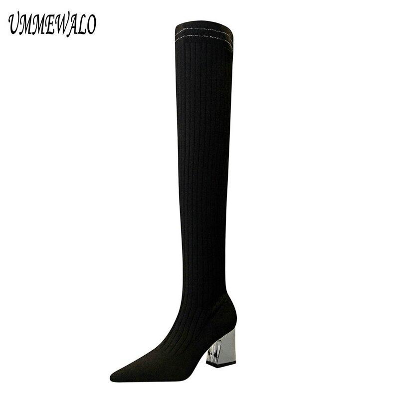 UMMEWALO Pointed Toe Slim Sexy Thigh High Boots Women Fashion High Heel Elastic Winter Knitting Boots