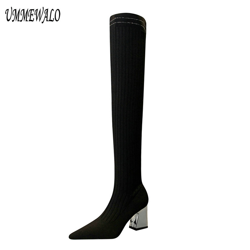 UMMEWALO Pointed Toe Slim Sexy Thigh High Boots Women Fashion High Heel Elastic Winter Knitting Boots Ladies ShoesUMMEWALO Pointed Toe Slim Sexy Thigh High Boots Women Fashion High Heel Elastic Winter Knitting Boots Ladies Shoes
