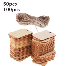 50/100pcs Wooden Label Chips Unfinished Rectangle Wood Gift Wedding Scrap booking Blank High Quality Accessory