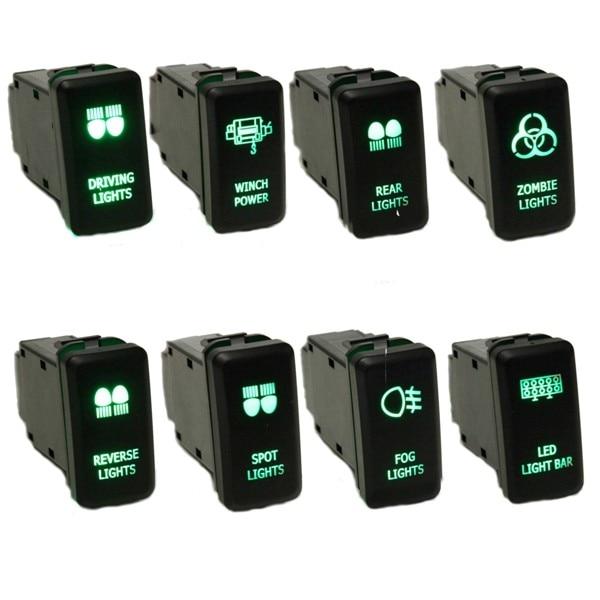 Green ZOMBIE LIGHTS Replace Push Switch For Toyota Hilux Prado Landcruiser Rav4