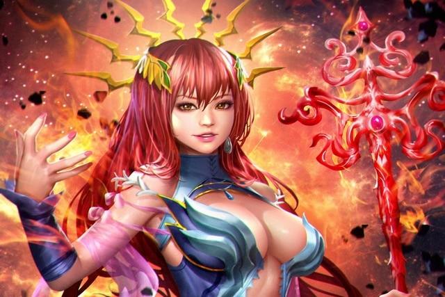 Solaris beauty staff look magic red art anime girl costume living ...