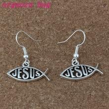 Fish shape jesus Earrings Silver Ear Hook 20pairs/lot Antique Chandelier Jewelry 23x30mm A-213e