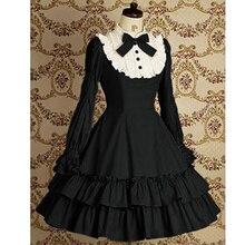 Черное милое платье лолиты с длинным рукавом и бантом для Хэллоуина, черное готическое платье, костюмы для дам