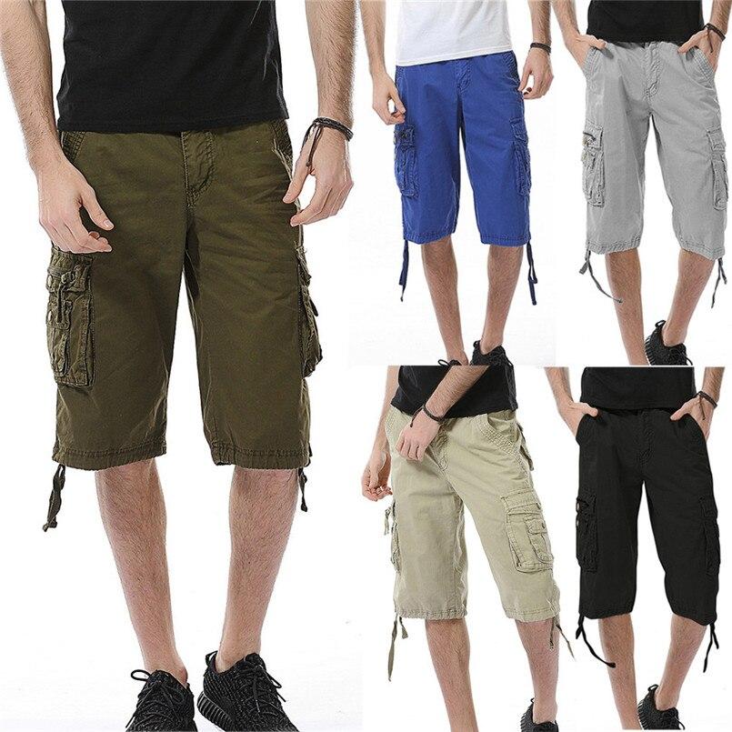 Pure Color Outdoors Cargo Shorts Men 2018 New Mens Casual Shorts Male Loose Work Shorts Man Short Pants Size 30-40 jun2218