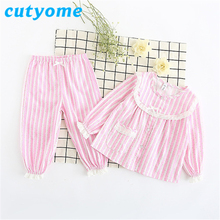 Купить с кэшбэком Autumn Children's Pijamas Set Cutyome Long Sleeve Floral Lace Striped Pyjamas For Toddlers Kids Baby Girls Nightwear Pajamas Set