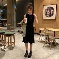2019 Spring Korean Style Women Dress Knee length O neck Sleeveless Tank Vestido Casual Solid Womens Dresses Brief