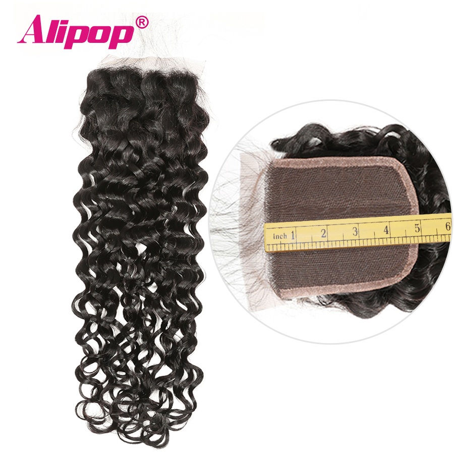 Alipop 5x5 Lace Closure Water Wave Closure Brazilian Hair Middle/Free/3 Part 10-18 20 Inches Preplucked Remy Human Hair Closure