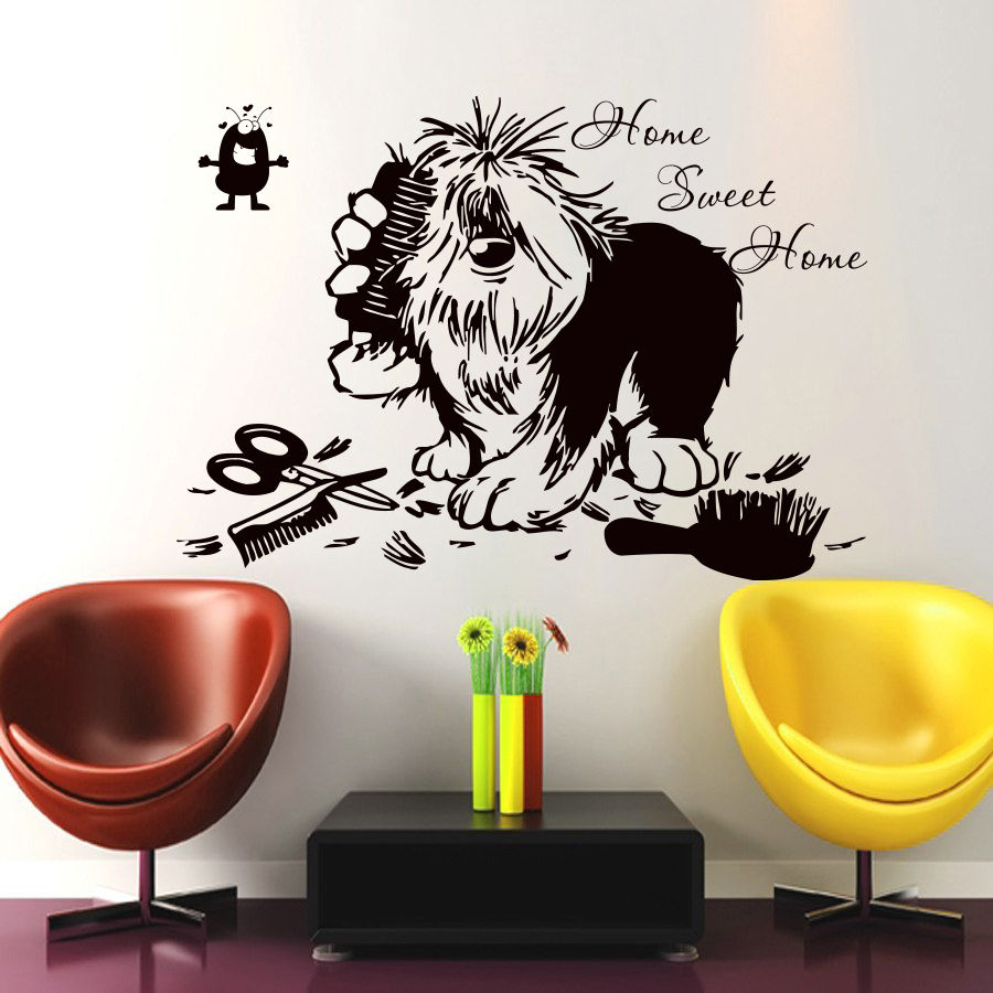 Home Swit Home Quote Dog Tools Pet Grooming Salon Pet Shop Wall Decal Removable Vinyl Art Wall Sticker Autocollant Mural
