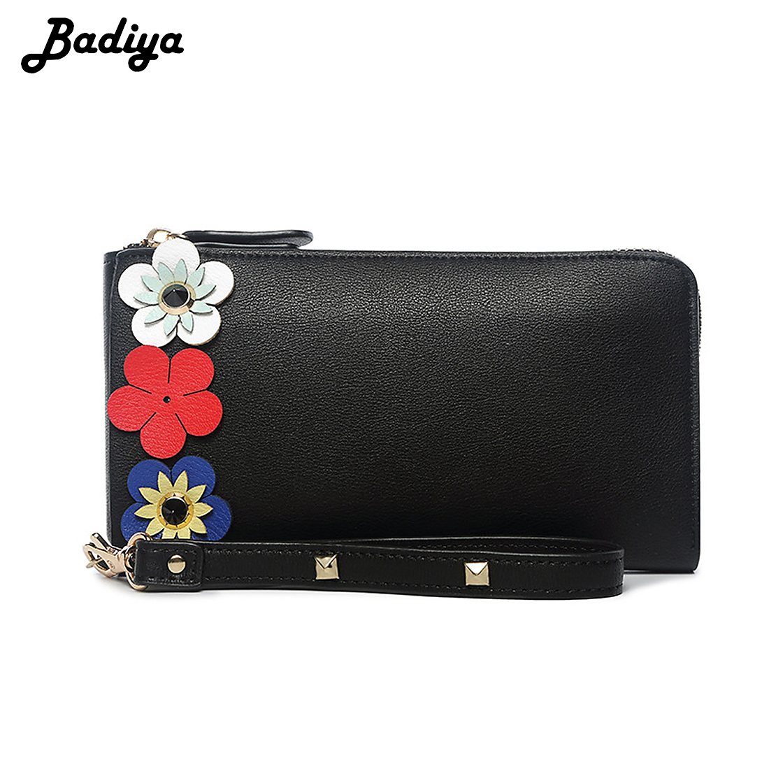 Women Fashion 3D Flower PU Leather Long Wallet Large Capacity Purse with Wrist Strap