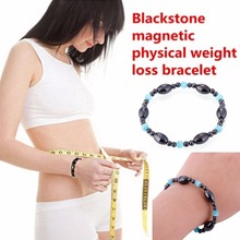 1Pc Biomagnetism Nature Magnetic Therapy Black Stone Blue Cat Eye Bracelet Handmade Health Care font b