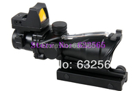 New Tactical Trijicon 4x32 ACOG Style W Mini Red Dot Scope With Real Red Fiber For