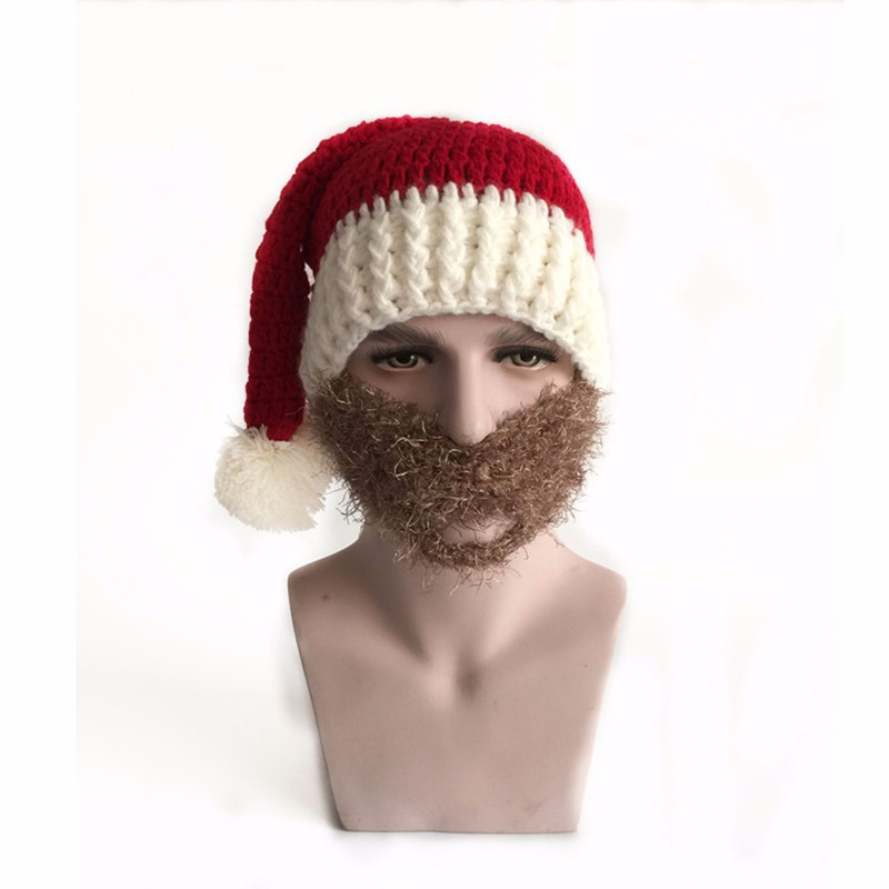 2016 Adult Crochet Knit Beanie Santa Claus Handmade Knitted Hat Hot Fashion Bearded Cap Women Men Christmas Gifts Accessories (12)