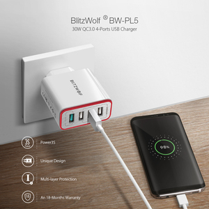 Image 2 - BlitzWolf 4 Ports QC3.0 Quick Charge EU Plug LED Light 30W 2.4A USB Travel Wall Charger Power3S For iPhone Android For N Swich