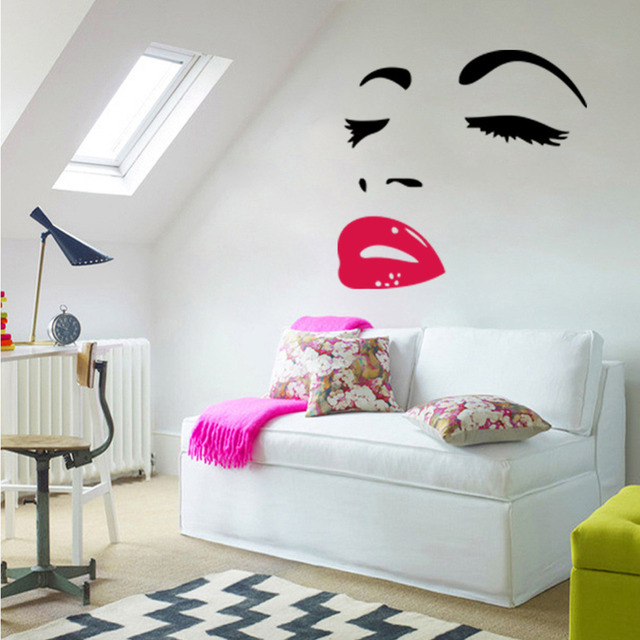Woman Home Decorating aliexpress : buy sexy woman audrey hepburn wall art stickers