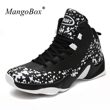 New Arrival Basketball Trainers High Top Men Gym Boots Plus Size Sport Trainers Black Red Leather Outdoor Basketball Shoes Brand
