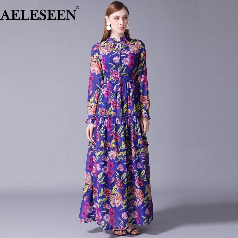 Maxi Bleu Ruches Pour Complet De Piste Floral Luxe Longue Imprimé Manches Aeleseen Robe Boho Nouveau Femmes Designer 2018 Flare xwq84PZA