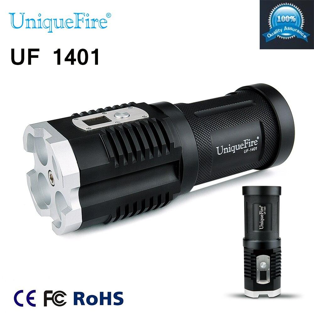 UniqueFire UF-1401 XM-L2 lampe de Poche 4 * Led 4000LM 5 Modes Affichage Numérique Forte Lampe Torche Pour Camping Randonnée livraison gratuite