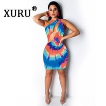 XURU summer new womens positioning print dress slant shoulder nightclub sexy hollow gradient