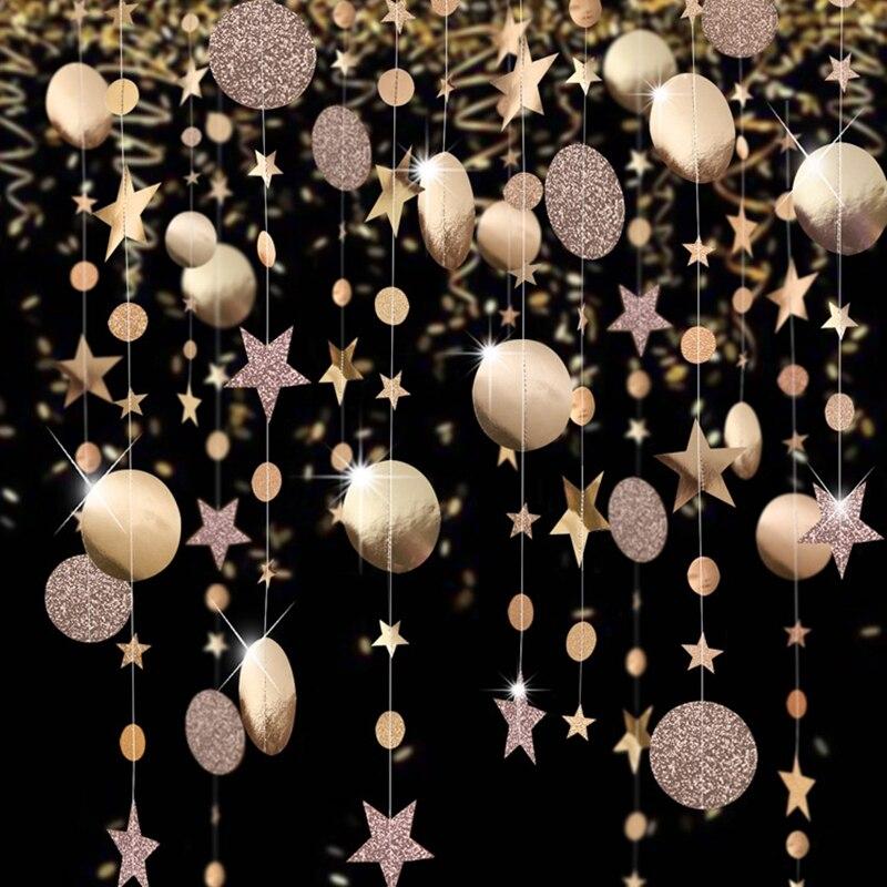 И формирующая листы для кровли 4 м зеркало Бумага звезда круглый Золотая гирлянда flash-баннер для дня рождения, свадьбы Вечерние пользу Baby Shower...