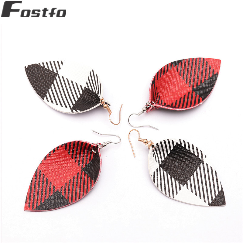Frugal Fostfo New Buffalo Plaid Leather Earrings Teardrop Earrings For Women Fashion Red Color Leaf Shape Gingham Earring Jewelry 2019 Finely Processed Jewelry & Accessories Earrings
