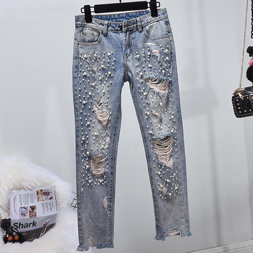 Skinny déchiré Jeans femmes en difficulté trou perles perle femmes Jeans avec perles Denim crayon pantalon grande taille