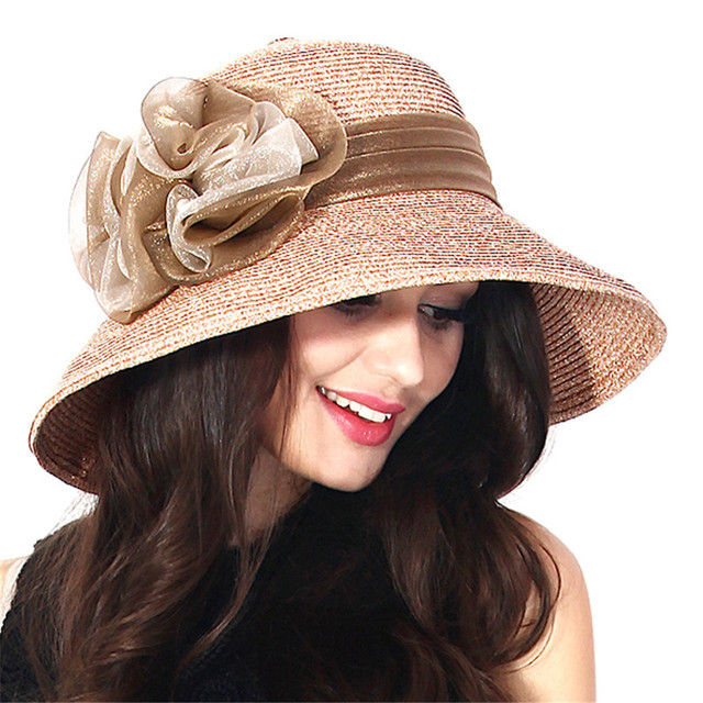 Women Girls Fashion Summer Beach Flowers Decoration Folding Wide Brim Straw  Sun Hat Bucket Hat e4cd6d885517