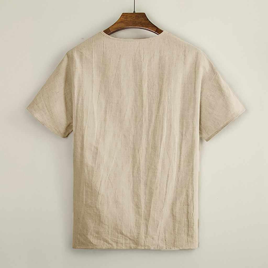 男性の長袖リネンシャツ夏カジュアル V ネックシャツ M-3XL トップス Tシャツエスニックルースプラスサイズ無地シャツ