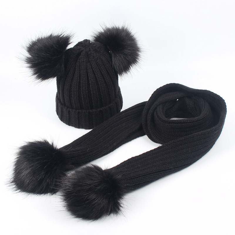 New Children Knitted Hat Scarf Set For boys and girls Winter Baby Hat Fur Pom Pom Toddler Kid Warm Double Fur Balls Beanies