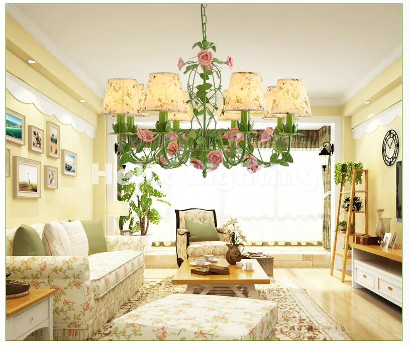 Free Shipping Art deco Tiffany Chandelier Floral Rose Colorful E14 ...