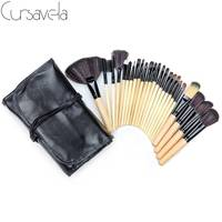 Profession Makeup Brushes Set 24Pcs Make Up Tool Cosmetic Foundation Eyeshadow Powder Blush Leather Case Cursavela