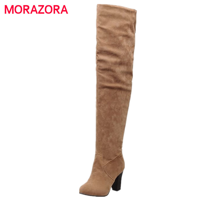 MORAZORA Big size 34-45 2018 Women Boots Thick High Heel Over the Knee High Boots Autumn Winter Boots Fashion Thigh High shoes bonjomarisa big size women high heel boots over the knee thigh high boots sexy lady fashion winter shoes knight boots xb345