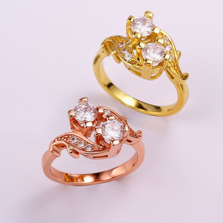 Luxury Gold Plated Crystal Engagement Rings Promise Ring Wedding