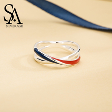цена SA SILVERAGE 925 Sterling Silver Europa Wedding Rings for Women Silver 925 Blue/Red Stripe Rings For Women Fine Jewelry онлайн в 2017 году
