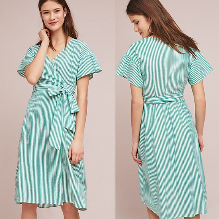 Kaftan Beach Dress Tunic Robe Cardigan Saida De Lace Swim Cover Up Bathing Suit Ups Beachwear For Women 2018 Green Stripes Tied
